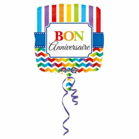 Ballon hélium Bon anniversaire Color flash pouvant être gonflé avec ou sans hélium à l'aide d'une paille Dimensions : 43cm Parfait pour...