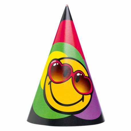 6 Chapeaux de fête en carton Smiley pour vos anniversaires. Dimensions : 16.5 cm