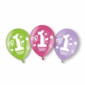 6 Ballons latex 1 an Sweet girl