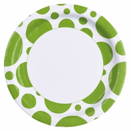 8 Assiettes en carton à pois verte Dimension: Ø 23 cm