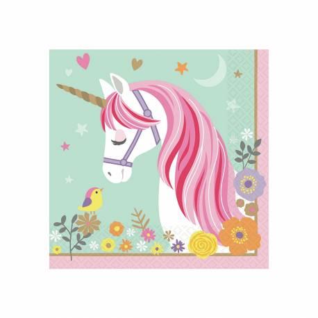 16 Serviettes en papier pour une fête sur le thème des licornes Diamètre: 33cm x 33cm