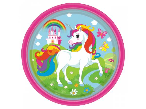 Assiettes en carton thème licorne rainbow