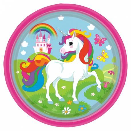 8 Assiette thème Licorne Color pour la décoration anniversaire de votre enfant. Dimensions : 23 cm