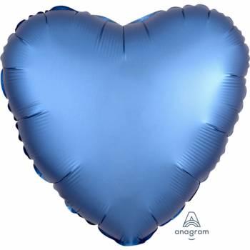 Ballon hélium satin luxe bleu coeur