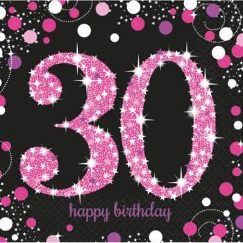 16 Serviettes Pétillante pink 30ans