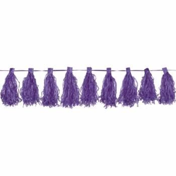 Guirlande pompons franges violet
