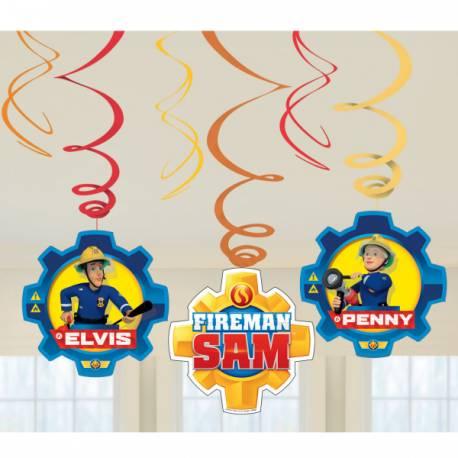 6 Suspensions pour la décoration d'anniversaire sur le thème Sam le pompier