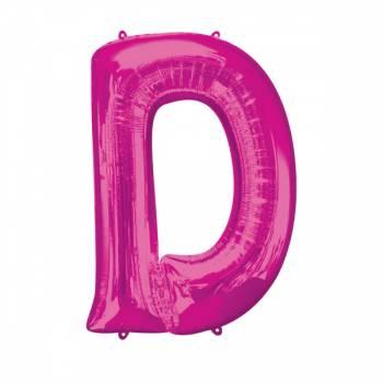 Mega Ballon Hélium lettre D fuschia