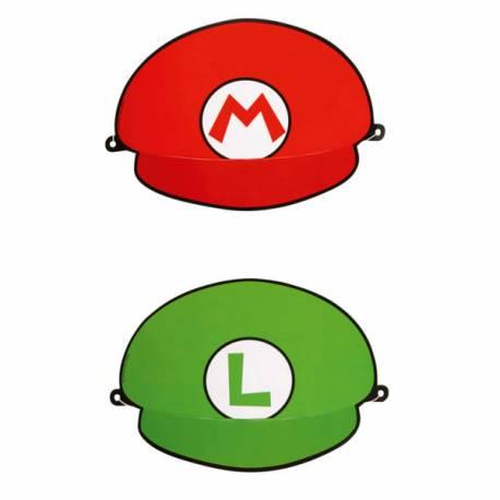 8 Casquettes de fête Mario Bros et Luigi en carton avec élastique
