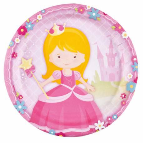 8 Assiettes en carton sur le thème My Princesse idéal pour convier les amis à l'anniversaire de votre filleØ23cm
