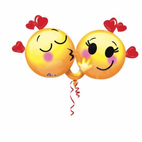 Ballon hélium en aluminium à gonfler avec ou sans hélium à l'aide d'une paille En forme de emoticons love Dimensions : 53 cm x 91 cm