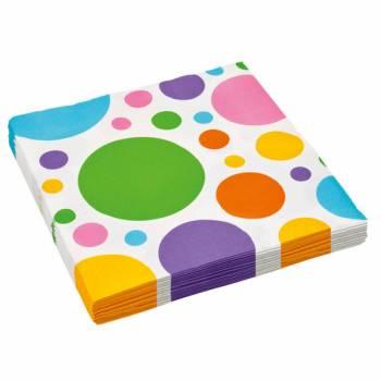 20 Serviettes papier pois multicolore
