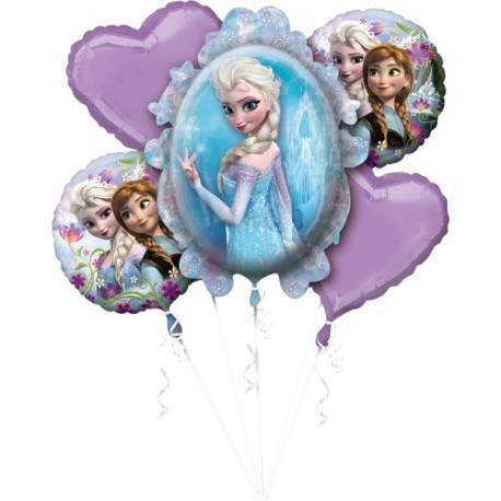 Bouquet de 5 ballons happy birthday La Reine des Neigesen aluminium pouvant être gonflés avec ou sans hélium (avec une paille) vendu...