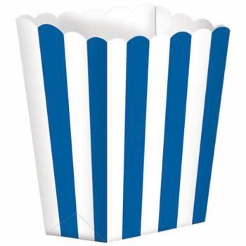 5 Boîtes Pop corn rayures bleues