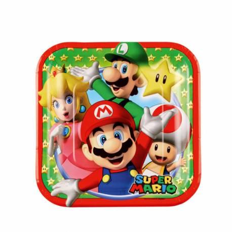 8 Assiettes Super Mario Bros carrée à dessert en carton pour la deco anniversaire de votre enfant. Dimensions : 18 cm x 18 cm