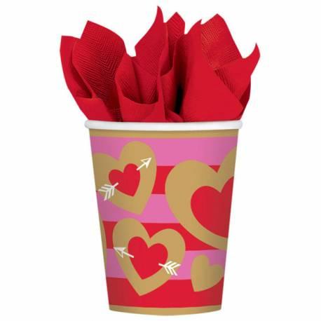 8 Gobelets en carton Coeur gold pour un repas de famille sous le signe de l'amour, fête des mères, des Pères ou St Valentin ! Dimensions...