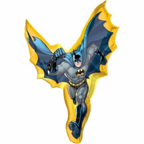Ballon géant en aluminium en forme de Batman pouvant être gonflé avec ou sans hélium avec une paille Dimensions : 69 cm x 99 cm