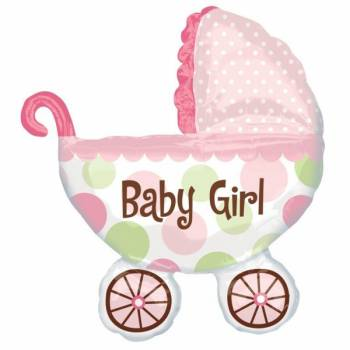 Ballon baby girl pousette rose