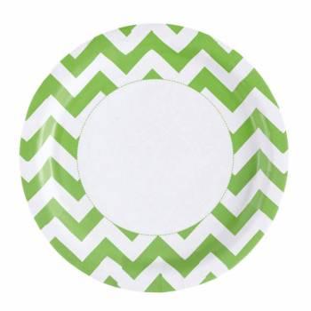 8 Assiettes carton chevrons vert