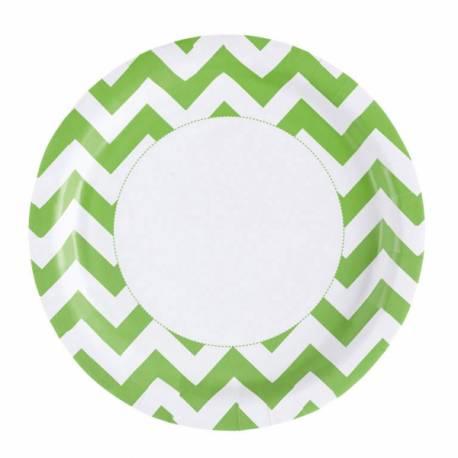 8 Assiettes en cartonchevrons vert Dimension: Ø 23 cm