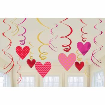 12 Guirlandes swirl coeur valentine