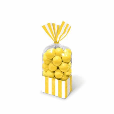Paquet de 10 sachets à confiseries à rayures en plastique avec attaches. Dimensions : 25 cm x 13 cm