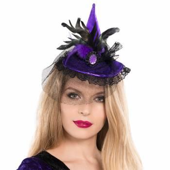 Mini chapeau sorcière violet plume