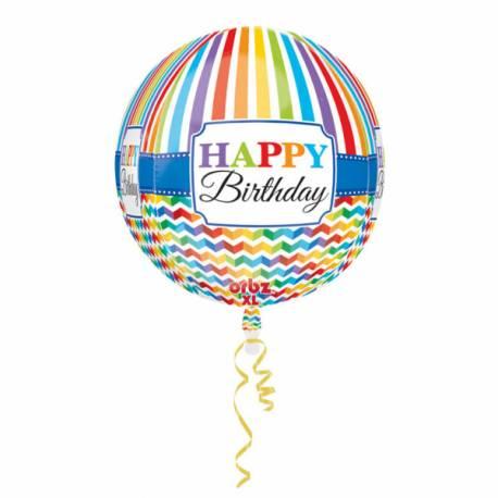 Ballon hélium Orbz Happy Birthday Color flash pouvant être gonflé avec ou sans hélium à l'aide d'une paille Dimensions : 38 cm x 40 cm...