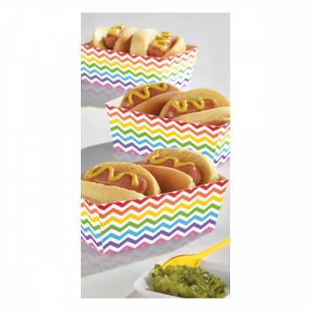 24 Mini barquettes snack chevrons multicolore