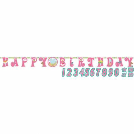 Baderole Happy Birthday à personnaliser pour anniversaire thème Princesse des bois Livré avec stickers chiffre Dimensions :3.2mètres x...