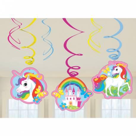 6 Décor à suspendre Licorne Color pour la décoration anniversaire de votre enfant. Dimensions : Longueur 45cm