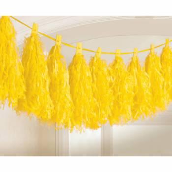 Guirlande pompons frange jaune