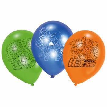 6 Ballons latexTortue Ninja half Shell Heroes