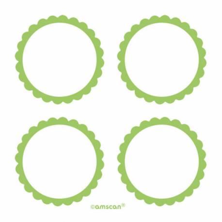Paquet de 20 étiquettes autocollantes vertes en papier pour vos candy bars, contenants... Diamètre: Ø 5 cm