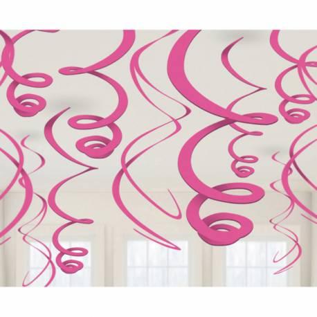 12 suspensions tourbillonsde couleur fuschiaidéal pour la décoration de vos salles d'anniversaire, mariage, baptème et Candy...