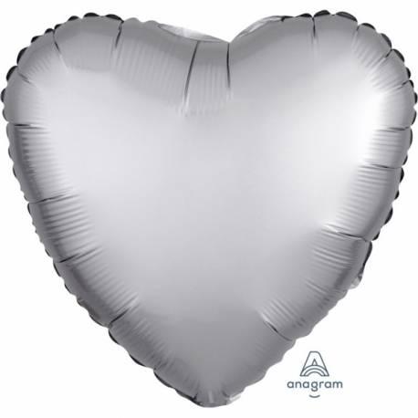 Superbe ballon hélium avec effet satiné haut de gamme à gonfler avec ou sans hélium à l'aide d'une paille Forme coeur couleur platinium...