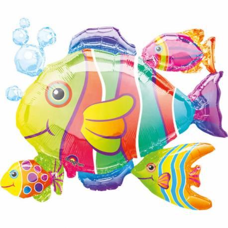 Ballon géant poisson tropical pour baby showers Ballon en aluminium pouvant étre gonflé avec ou sans hélium à l'aide d'une paille...