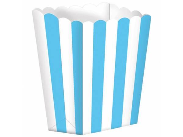 5 Boîtes Pop corn rayures bleues caraïbe