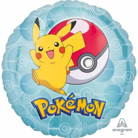 Ballon hélium Pokemon pouvant être gonflé avec ou sans hélium à l'aide d'une paille Thème anniversaire Pokemon Dimensions : 43 cm