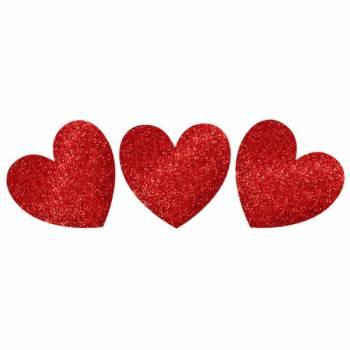 20 décors pailletés coeur rouge