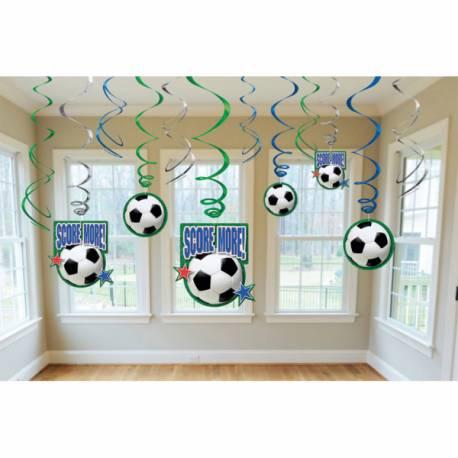 12décors foot à suspendrepour la déco anniversaire de votre enfant.