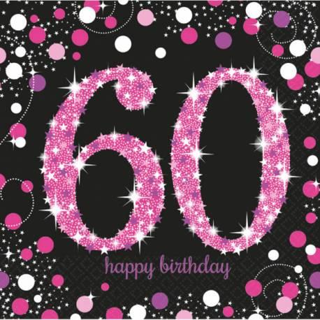 16Serviettes en papier thème Pétillant pink argent 60 ans Dimensions : 16.5cm x 16.5cm/ 33cm x 33cm Parfait pour la deco de votre fête...