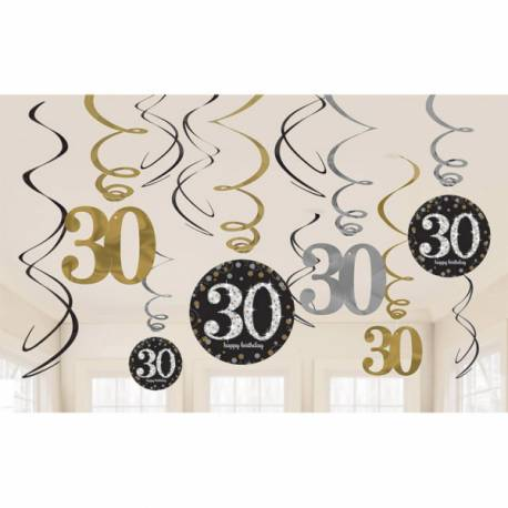 12 Suspensionspour anniversaire Or et argent 30 ans Hauteur : 45cm