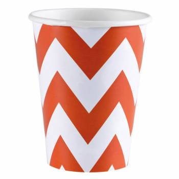 8 Gobelets carton chevrons orange