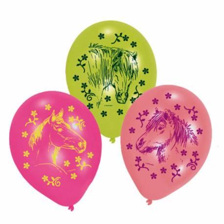 6 Ballons en latex assortispour anniversaire thème cheval Ø 23 cm