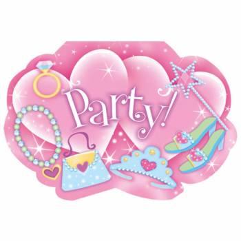8 invitations + stickers Princesses Fashion