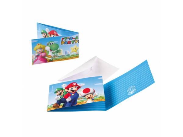 Invitations anniversaire + enveloppes Mario Bros