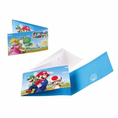 8 Cartes invitations anniversaire + enveloppes Mario Bros.