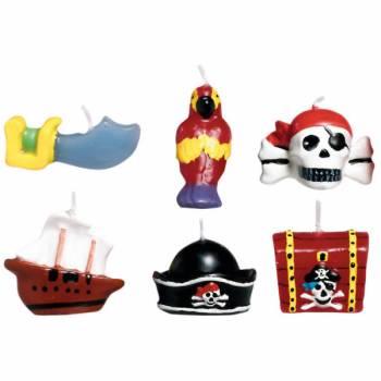 Lot 6 Bougies thème Pirate