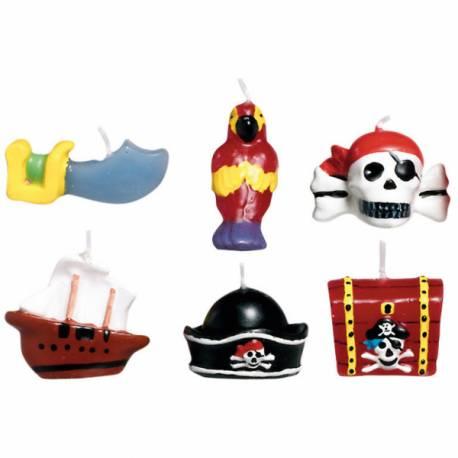 Lot 6 Bougies thème Pirate pour créer une belle décoration d'anniversaire à thème à votre enfant. Hauteur: 3.2 cm Assortiment de 6 bougies
